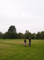 Spectators see the balloon disappear into the distance